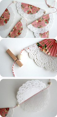 Shabby Banner Made With Cupcake Liners, Paper Doilies, Beads, & Twine (Manualidades Diy Fiestas) Paper Doily Crafts, Doilies Crafts, Paper Doilies, Cupcake Paper Crafts, Doily Art, Diy And Crafts, Crafts For Kids, Arts And Crafts, Paper Flowers