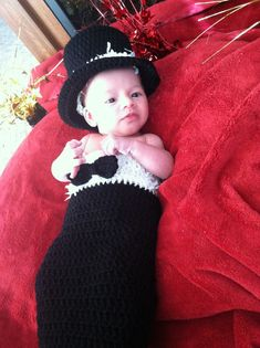 Crocheted Baby First Tuxedo on Etsy, $25.00