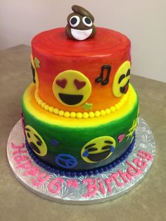 Emoji Cake with chocolate cake and choc buttercream for bottom and vanilla cake with strawberry buttercream on top covered in MMF and hand painted with fondant details