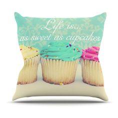 Kess InHouse Beth Engel Life Is As Sweet As Cupcakes Green Indoor/Outdoor Throw Pillow - BE1045AOP0