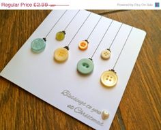 Sale Christmas Card - Handmade Christmas Bauble Button Ornament Card, Holiday Card, Xmas Card,
