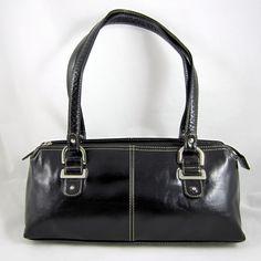 RELIC Lovely Black Faux Leather Baguette Shoulder Bag Double Handles EUC - Classic black bag!  $19.50