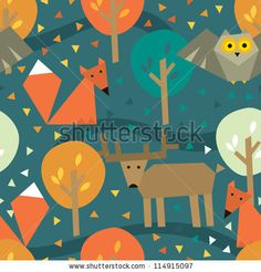 Seamless Pattern With Wild Animals Stock Vector 114915097 : Shutterstock