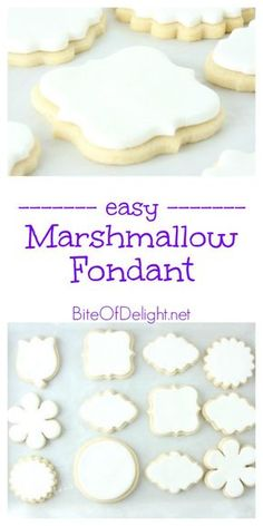 This simple Marshmallow Fondant is easy to make. Perfect for cakes or cookies. Marshmallow fondant made with 4 simple ingredients. Easy and delicious and much tastier than traditional fondant! This will be your go-to recipe! Fondant Cookies, Fondant Icing, Cookie Icing, Sugar Cookies, Cupcake Cakes, Fondant Toppers, Mini Cakes, Fondant Baby, Cupcakes With Fondant