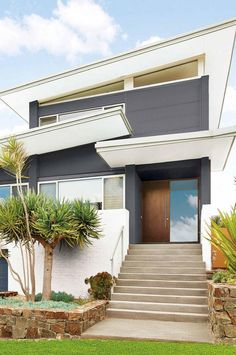 I like the contemporary colours. Mine is single story and will be smooth rendered. Maybe a similar colour scheme with black trim? And maybe even an exterior feature wall in blue Exterior Color Palette, Exterior Gray Paint, Exterior House Colors, Exterior Design, Interior And Exterior, Shop Front Design, House Design, Modern Architecture House, Modern Houses