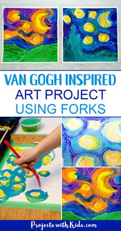 Paint Van Gogh& Starry Night using forks! Learn about creating movement and texture in painting like Van Gogh with this fun and engaging art project that will have your kids wanting to paint with forks over and over again! A great process art project. Preschool Art Projects, Projects For Kids, Crafts For Kids, Arts And Crafts, Fun Art Projects, Preschool Art Lessons, Children Art Projects, Texture Art Projects, Kindergarten Art Activities