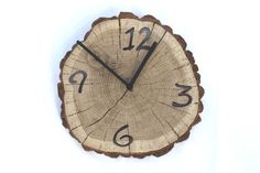 Oak clock unique wall clocks wall clock wood big clock wooden slices rustic wall clock wood slice clock unusual wall clocks часы (40.00 USD) by MARKOSTYLE