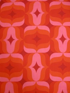 Vintage fabric in shades of orange and pink  70er Dekostoff | Archiv-Stoffe | | Johnny-Tapete