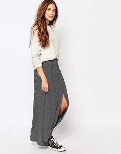 Pull&Bear Stripe Button Maxi Skirt