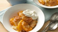 Whether you use canned, fresh or frozen peaches will probably depend on the time of year.  Whatever the season, this homey dessert will bring you praises.  Try this favorite from the Betty Crocker Kitchens tonight.