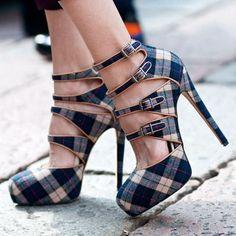 Zapatillas de tartán azul