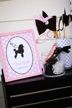 Poodle Skirt Themed Birthday Party via Kara's Party Ideas KarasPartyIdeas.com Cake, tutorials, stationery, favors, supplies, and more! #poodleskirt #poodleparty #pinkandblackparty #poodleskirtyparty #karaspartyideas #girlbirthdayparty #piolkadotparty (20)