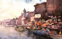 Varanasi ghats. Watercolor on handmade paper. Size 30 x 20 inches, by Nitin Singh.