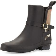 Burberry Riddlestone Check Short Rain Boot (£240) ❤ liked on Polyvore featuring shoes, boots, ankle booties, black, rubber boots, rain boots, short heel booties, lined rain boots and low heel booties