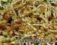 Ricette della cucina napoletana: spaghetti alla carrettiera, con alici salate e pangrattato -PRIMO SFIZIOSO NAPOLETANO