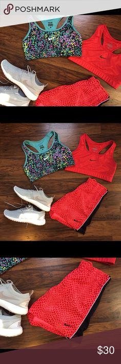 NIKE bundle 💪🏼🏃🏽♀️ Included: Two NIKE Dry-Fit running bras AND 'reptile' print NIKE running shorts...... Details: Bras--no pads, super comfortable running bras--both size Small. One is bright Coral with polkadots; One is purple/blue 'paint-spatter' design. Shorts: Size small, great condition, elastic band with string tie. (more details available on individual postings in my closet)!! GREAT deal 🏃🏽♀️ Shoes NOT included. Nike Shorts