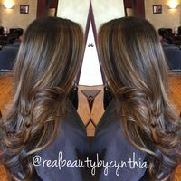 Hair by Cynthia - Encino, CA, United States. Face framing highlights warm light caramel tone on dark brown hair with layered cut