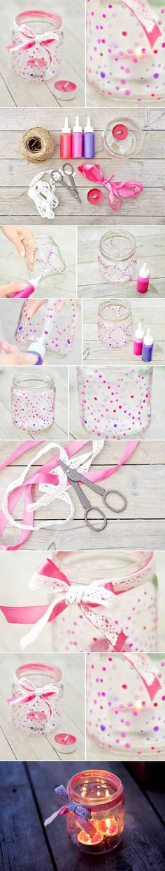 DIY Paint Glass Candle Nightlight/Reutilizando frascos de vidrio !!!