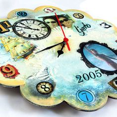 DIY clock - we mixed several techniques here - scrapbooking, mixed media, image transfer... Just choose a theme and let your creativity lead you!