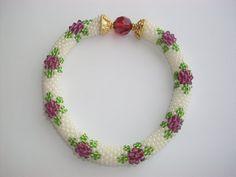 Beaded bracelet  Beaded Crochet Bracelet  PurpleFlower by NAZLI70, $20.00