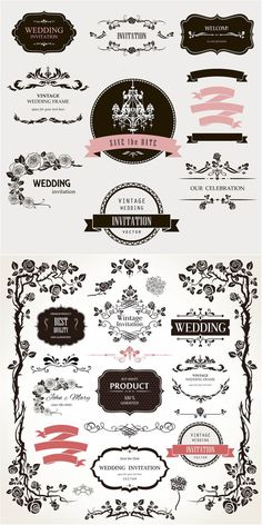 Decorative floral wedding design elements vector. 2 sets of vector decorative floral wedding design elements with ornate vintage frames, floral borders, different classic embellishments and labels for your ornamented wedding invitations and other designs. Format: EPS or Ai stock vector…