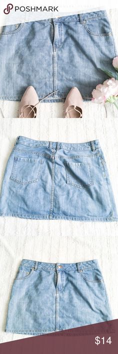 "H&M Light Wash Jean Skirt ✦this jean skirt is a nice basic piece, great for warmer weather & easily dressed up or down   ✦{I am not a professional photographer, actual color of item may vary ➾slightly from pics}  ❥waist:17"" ❥hips:21"" ❥length:15.5"" ❥pockets:3 in front/2 in back  ➳material/care:cotton+polyester/hand wash  ➳fit:like a large ➳condition:newer/no major signs of wear   ✦20% off bundles of 3/more items ✦No Trades  ✦NO HOLDS ✦No transactions outside Poshmark  ✦No lowball offers/sales…"