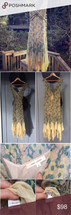 Vintage Marc Jacobs Dress 💯% silk chiffon Vintage Designer Dress by Marc Jacobs. Vintage silk has some minor thread pulls and slight stains which are shown in the pictures. Pale pastel yellow, pink, teal multi colored pattern. Marc Jacobs Dresses Midi