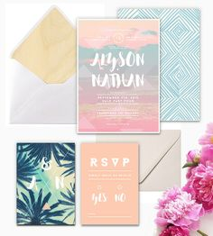 Having the surfers dream wedding! Add to your special day with these light and super fun invitations Includes: invitation rsvp rsvp envelope
