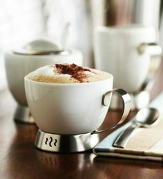 Stainless Steel Espresso Coffee Cups. Porcelain and stainless steel. Perfect size for espresso!