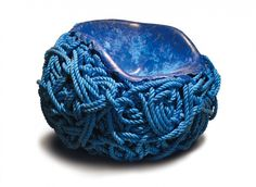 blue cable rope as an elegant chair design for waiting room furniture
