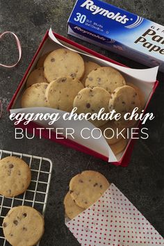 Spice up your famous batch of chocolate chip cookies with our Eggnog Chocolate Chip Butter Cookies recipe. These treats are so creamy and soft, you'll be craving them all year long! For evenly baked cookies that don't stick, line your baking sheet with Reynolds Parchment Paper! Available in rolls or pre-cut sheets, they make cleanup fast and easy.