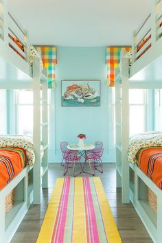 Coastal Living Showhouse - Turquoise bunk room features walls and bunk beds fitted with cubbies painted turquoise blue, Benjamin Moore Dolphin's Cove, dressed in yellow and green bedding, Biscuit Home Marfa Cactus Bedding, Pendleton serapa blanket.