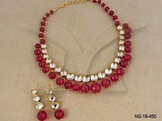 Strawberry Moti Kundan Necklace Sets
