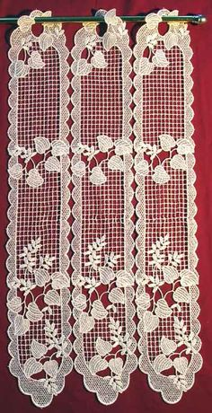 """Vanessa is a delicate design of 100% Polyester Macrame Curtains imported from France.  It is available in lengths from 12"""" to 71"""".  The image shown is 23 1/2"""" in length.  The prices start at $12.95 per foot as wide as you wish."""
