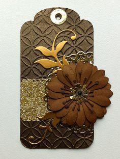 Tag embossed metal paper - gold border, gold leafy flourish MFT, flower, gold doily