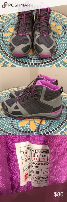 The North Face Ultra Hike Mid Gore-Tex Size 10 NEW The North Face Ultra Hike Mid Hiking Boots Gore-Tex Size 10. BRAND NEW. Mid-rise for ankle support. Vibram soles. WATERPROOFED via Gore-Tex. A year or so old, but Never used! Colors Gray/Purple. Women's size 10. The North Face Shoes Athletic Shoes