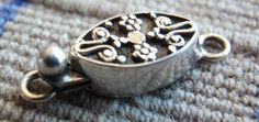 Sterling Silver Box Clasp Small Oval Ornate Flower by cutterstone, $9.00