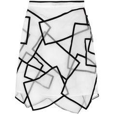 Christopher Kane Paneled velvet-trimmed silk-voile skirt (1 285 AUD) ❤ liked on Polyvore featuring skirts, bottoms, christopher kane, saias, white, knee length, white sheer skirt, knee high skirts, knee length skirts and white knee length skirt