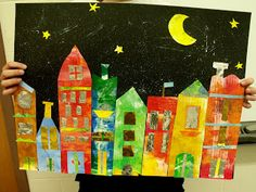 A Glimmer of Light - painted paper cities.painted canvas, painted individual houses, moon and stars, spray adhesive and a sprinkle of glitter. 2nd Grade Art, School Art Projects, Painted Paper, Painted Canvas, Elements Of Art, Art Lesson Plans, Art Classroom, Art Activities, Art Plastique
