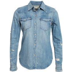 Denim & Supply Ralph Lauren Western Denim Shirt ($260) ❤ liked on Polyvore featuring tops, blouses, shirts, blusas, denim, blouses & shirts, womens-fashion, round top, blue top und collared shirt