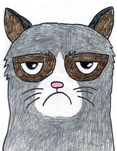 Grumpy Cat | Art Projects for Kids. NEW PDF Tutorial available. #artprojectsforkids #grumpycat #howtodraw