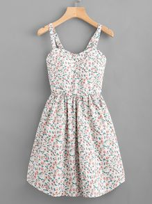 Ditsy Print Random Flare Cami Dress