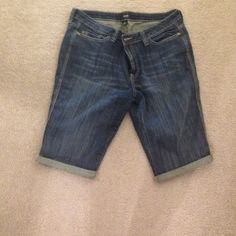 """Jean/Denim long shorts by ANA- only worn once! Perfect condition- I just have fat thighs so at the bottom they're a bit snug for me.  Hole openings measure. 18 1/4""""- - inseam is 14"""" to bottom of cuff. ANA Shorts Jean Shorts"""