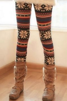 I SOOOOO want some of these for winter!!! Snowflakes Print Skinny leggings   By: OASAP.com