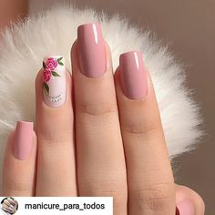 Make an original manicure for Valentine's Day - My Nails Floral Nail Art, Pink Nail Art, Cute Acrylic Nails, Acrylic Nail Designs, Pink Nails, Gel Nails, Nail Nail, Chic Nails, Stylish Nails