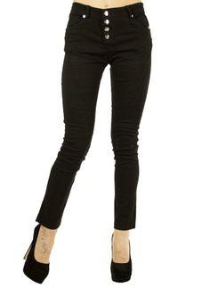 Pantalon Dama Four Buttons  Pantaloni dama stil pana. Model casual-elegant, material denim-stretch.  Talie inalta ce se potriveste mai multor tipuri de siluete.  Detaliu buzunare fata-spate.     Compozitie: 95%Poliester, 5%Elasten