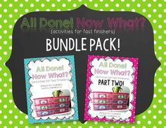 "I have some seriously fast workers in my classroom! Out of sheer necessity, I set up an ""I'm Done"" station in my room, and now you can too! This bundle pack includes 21 different activities for your students to complete when they are ""done"" with their assignment!In this download you will get:*Directions and suggestions for use.*21 labels to glue onto jumbo craft sticks and onto plastic drawers.*81 recording sheets to use throughout the year, differentiated to meet the needs of your students."
