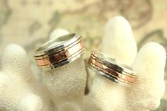 Copper,Brass, and Silver Spinning Wedding Bands