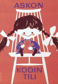 Askon kodin tili - Askon vanha mainos Finland, Vintage Designs, Illustrators, Nostalgia, Snoopy, Walls, Retro, Books, Movie Posters