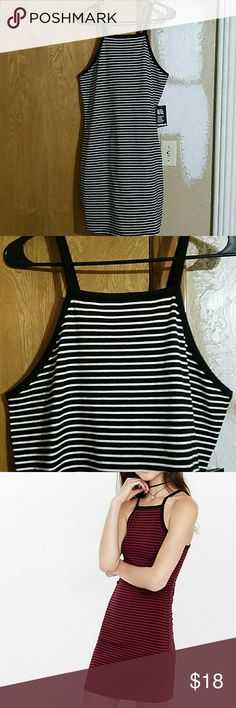 Express dress Express square neck dress - description from website in pictures - the red stripe dress is from the website and only used as a visual, I'm selling the black and white stripe one - NWT NBW Express Dresses Mini
